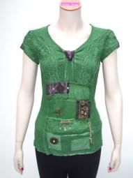 Elisa Cavaletti Shirt Farbe gruen mit vielen Details