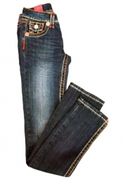 Jeans in blau mit bunten Nähten