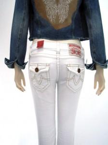 Jeans in weiß mit markanten Nähten