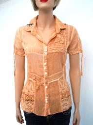 Designer Bluse von Elisa Cavaletti in der Farbe apricot