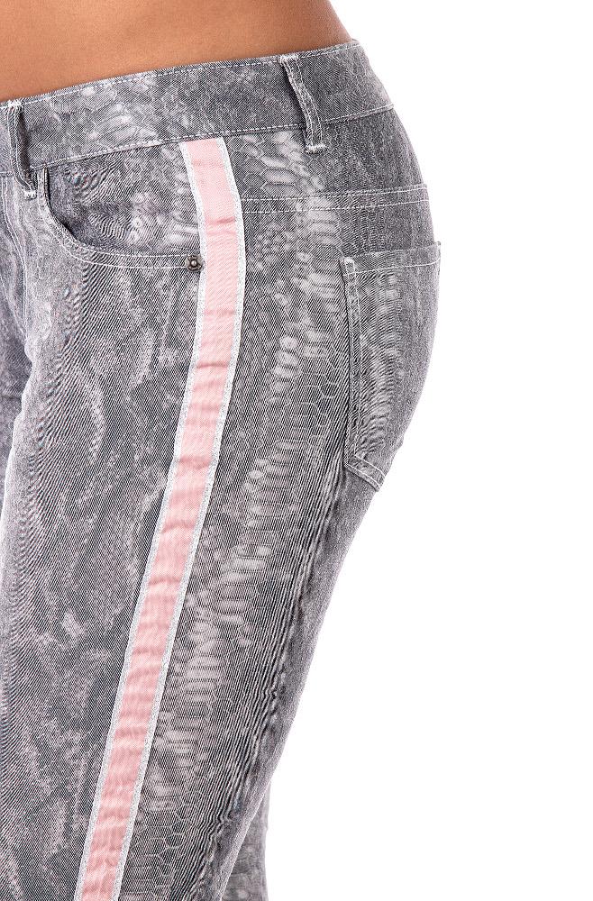 Blue Monkey Jeans Skinny rosa Streifen  - 2